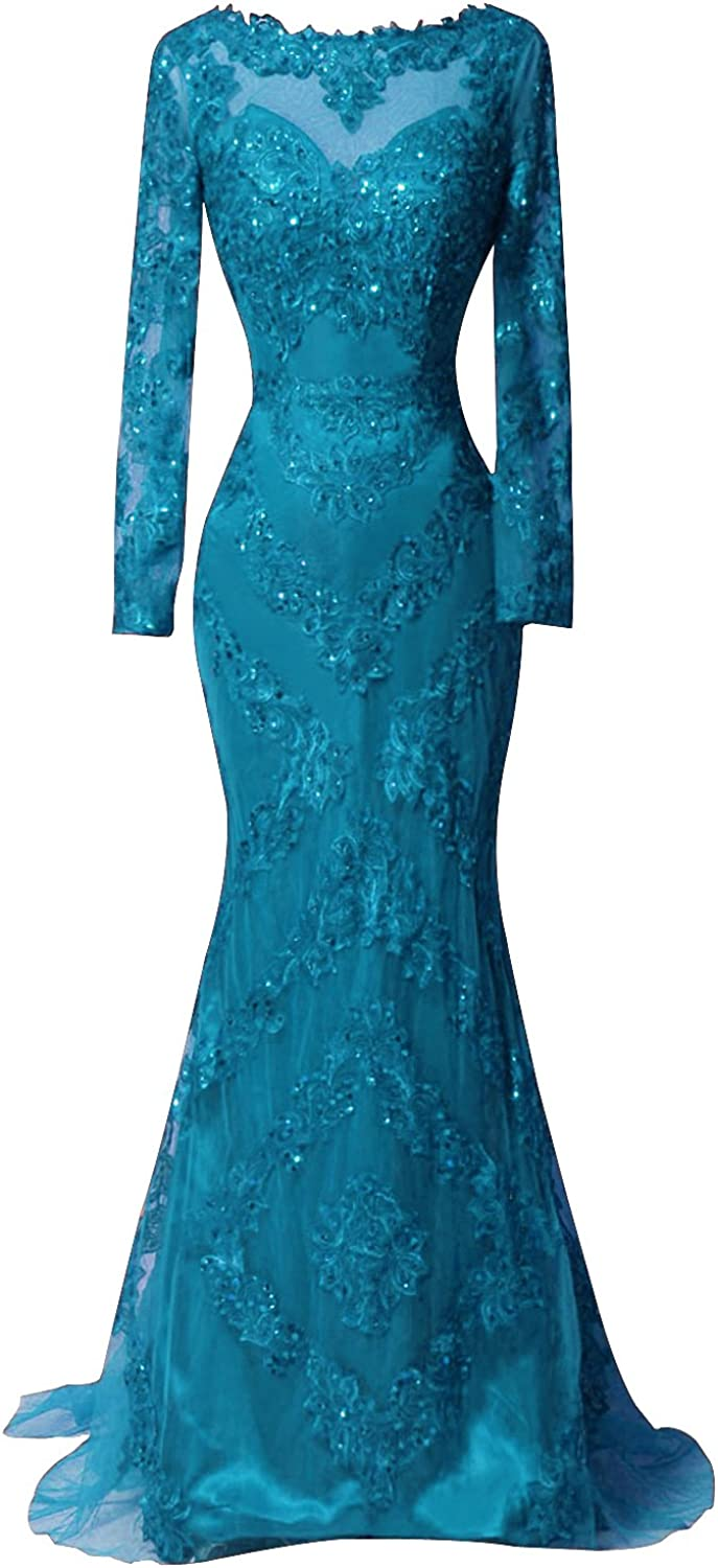 Dydsz Womens Mermaid Evening Dresses with Sleeves Formal Gown Appliques D171