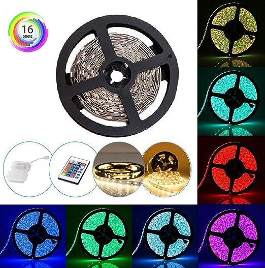 Tira LED RGB Luces con Control Remoto y Caja Impermeable 16 Colores 2M/6.56ft