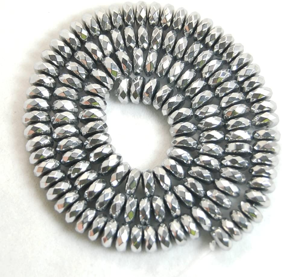 jennysun2010 2x4mm Non-Magnetic Silver Hematite Gemstone Rondelle Spacer Beads 15.5 Inches Smooth 1 Strand for Bracelet Necklace Earrings Jewelry Making Crafts Design Healing