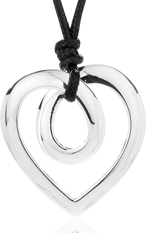 Necklaces for Women Twist Heart Pendant Necklace Lariat Necklace Set Rope Leather Statement Necklace (Short)