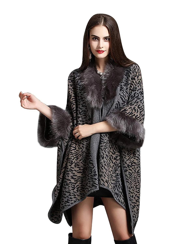 HX fashion Femme Châle Automne Hiver Veste en Fourrure Élégant Mode Vintage  Manteau Imprimé Basic Irregular Asymétrique Fourrure Synthétique Cape  Outerwear ... 5c2a4ba86be