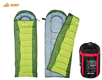 Semoo Saco de Dormir Rectangular para Adultos en Verde - Sleeping Bag para 3 Estaciones -