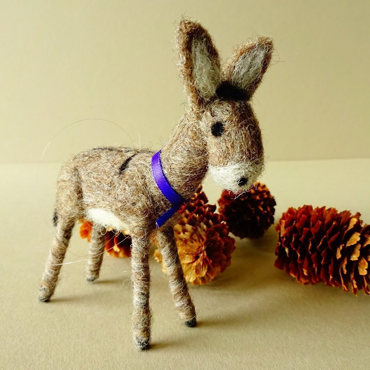 Handmade donkey ornament   Rustic farmhouse decoration   Needle felted animal lover gifts   Farm animals housewarming gift for couple   Traditional countryside decor   3'' inches by 3''   Kraft gift box