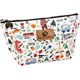 Toiletry Bag, Frcolor Multifunction Makeup Bag Purse Organizer Cartoon Cosmetic Pouch Waterproof Travel Cosmetic Case for Women Girls Teenagers (Happy Camping)