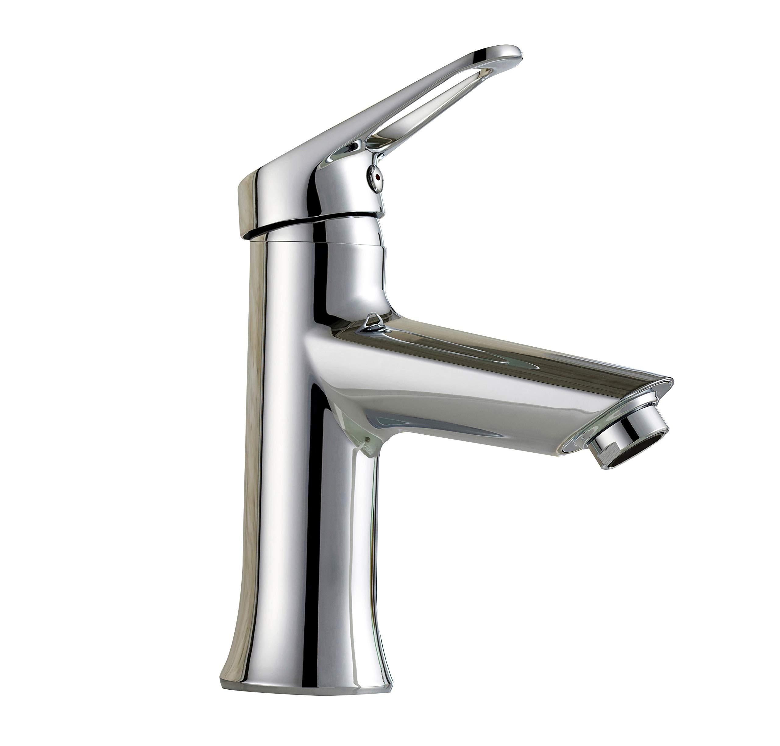 TimeArrow Single Handle Bathroom Sink Faucet With Stainless Steel Braided Hose, Chrome by TimeArrow