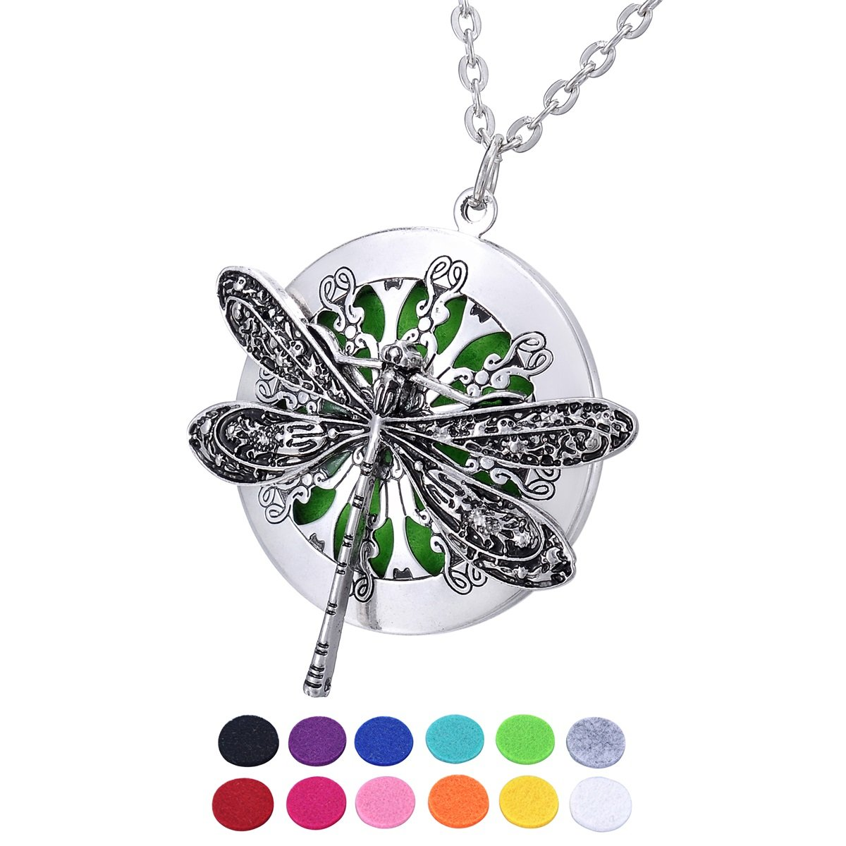 HOUSWEETY Aromatherapy Essential Oil Diffuser Necklace Locket Pendant 12 Refill Pads HOUSWEETYB124924