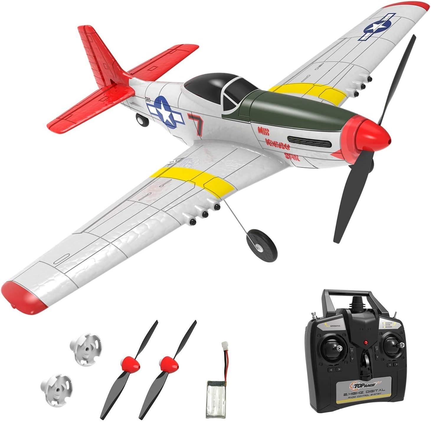 Top Race avion rc - Avión de guerra de 4 canales TR-P51 Mustang, aviones de juguete