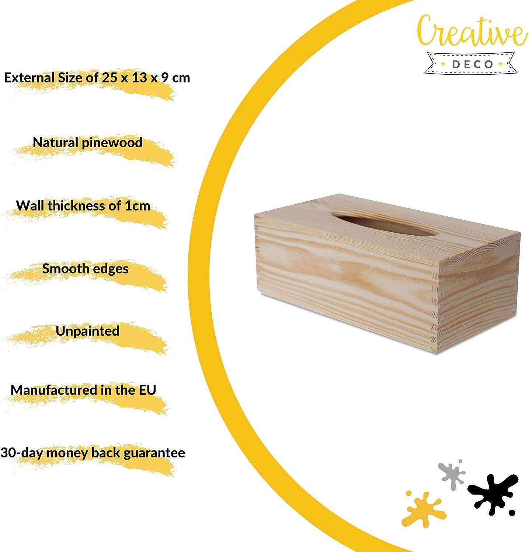 25 x 13 x 9 cm Fondo Deslizante Ideal para Decoupage Decoraci/ón y Almacenamiento Creative Deco Caja Madera Pa/ñuelos Papel Dispensador de Servilletas Rect/ángulo