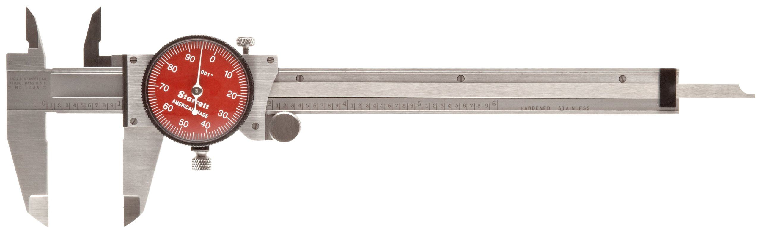 Starrett R120A-6 Dial Caliper, Stainless Steel, Red Face, 0-6'' Range, +/-0.001'' Accuracy, 0.001'' Resolution