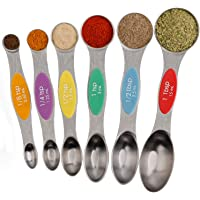 Magnetic Measuring Spoons Set Stainless Steel Dual Sided Stackable Teaspoons Tablespoons for Measuring Dry and Liquid…