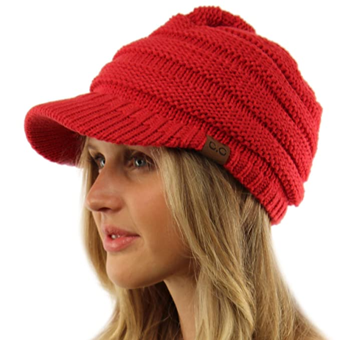 Unisex Winter Thick Chunky Stretch Knit Beanie Skully Visor Jeep Hat ... 891ee30828