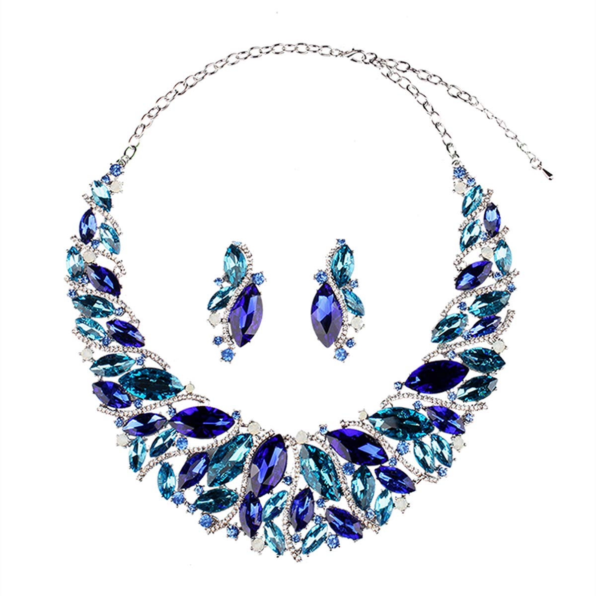 Hamer Bridal Link Costume Jewelry Crystal Choker Pendant Bib Statement Chain Charm Necklace and Earrings Sets (Blue)