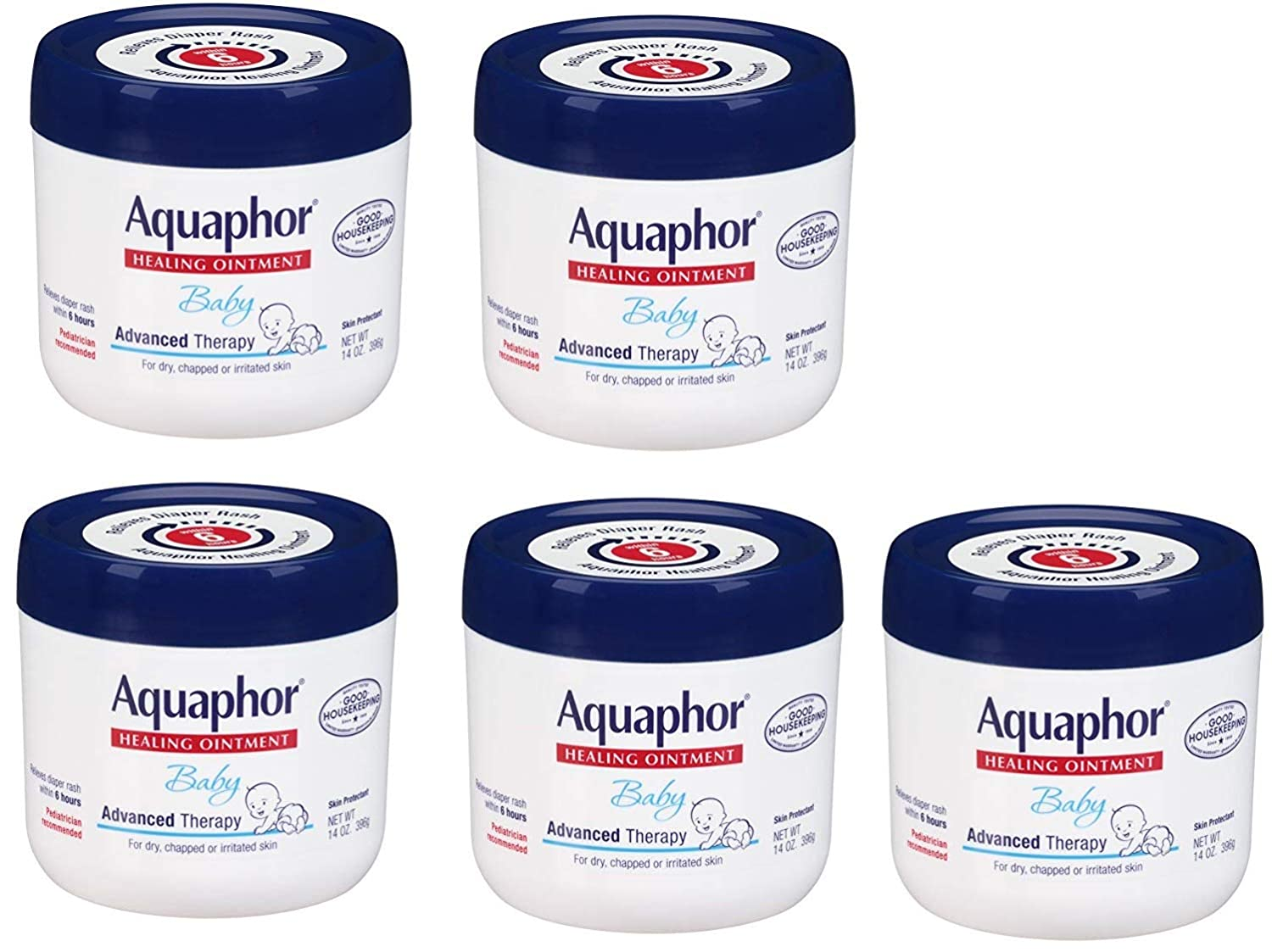 Aquaphor Baby Healing Ointment Advanced Therapy Skin Protectant, 14 Ounce, 5 Pack