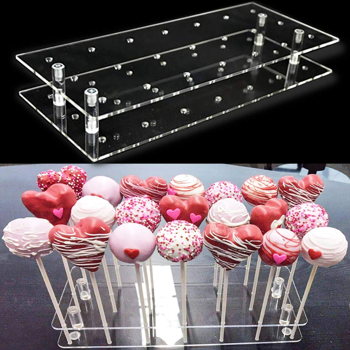 Goabroa Cake Pop Display Stand, 21 Hole Clear Acrylic Lollipop Holder Weddings Baby Showers Birthday Parties Anniversaries Halloween Candy Decorative (21 Hole)