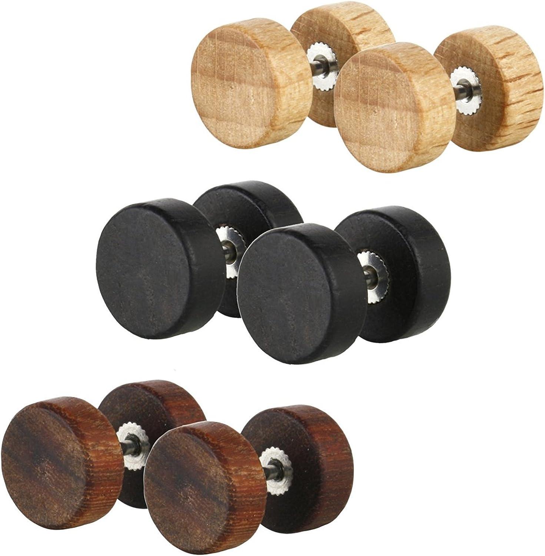 Amazon Com Jewelrieshop Fake Plugs Wood Stud Earrings Fake Gauge
