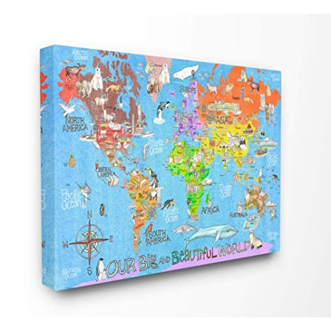 The Kids Room by Stupell Our Big Beautiful World Map Oversized Stretched  Canvas Wall Art, 24x30
