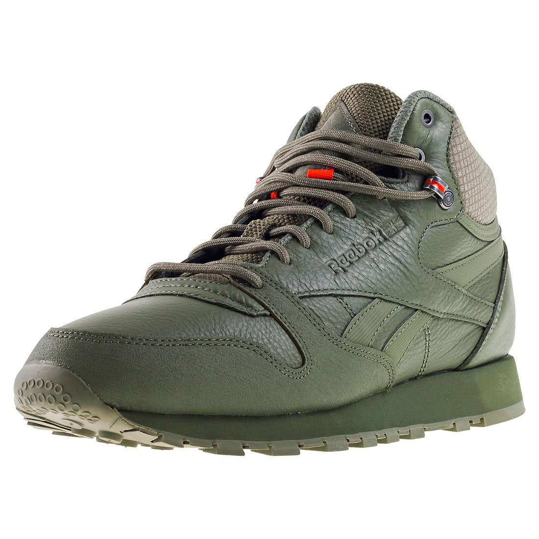 Reebok Herren CL Leather Mid TWD Fitnessschuhe  45.5 EU|Gr眉n (Hunter Green / Stone Grey / Energy Orange)