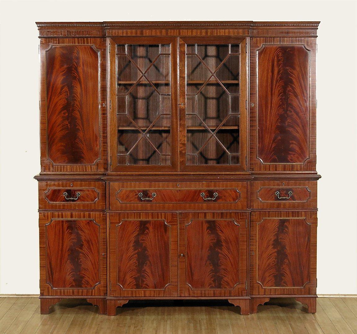 Vintage Flame Mahogany Breakfront Secretary Bureau Bookcase Cabinet