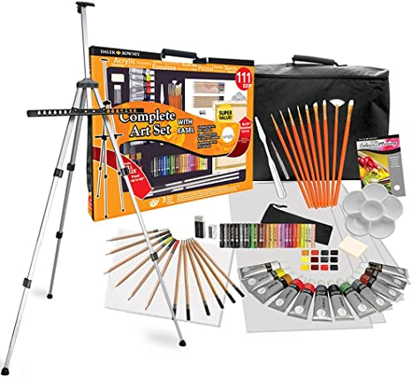 Daler Rowney 111 Piece All Media Art Studio Paint Set With Easel Canvas Supplies Painting Kit For Children And Adults