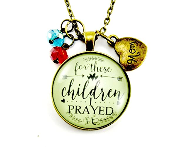 Personalized Christian Mom Necklace For These Children I Have Prayed, Mother's Custom Antique Style Glass Bronze Pendant with 2+ Birthstones, Adoption Jewelry Blessed Mother's Day Gift