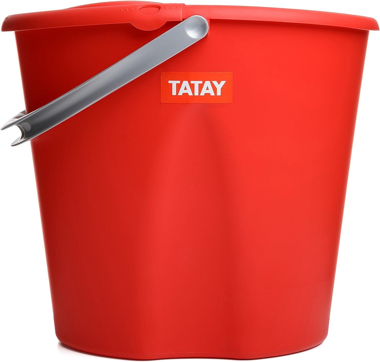 Cubo de Fregar graduado Ovalado con Escurridor y Asa 34 x 28 x 30,5 Capacidad para 12 Litros Color Rojo TATAY 1103309