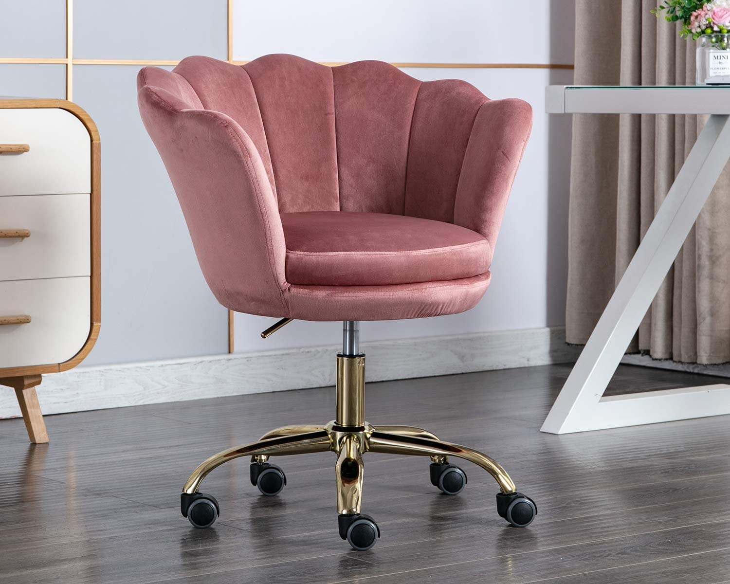 Kmax Office Desk Chair, Velvet Makeup Arm Chair Gold Base, Pink