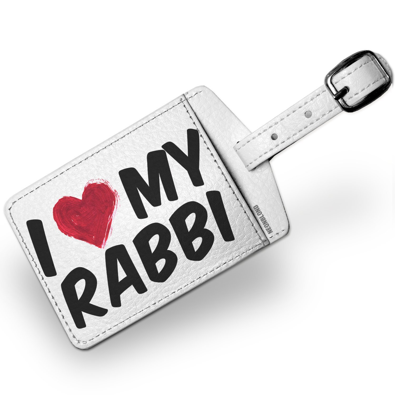 Luggage Tag I heart love my Rabbi - NEONBLOND