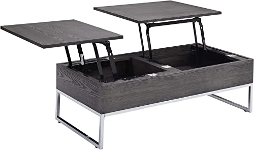 Major-Q Mid-Century Style Gray Oak 2-Storage Chrome Finish Leg Lift Top Coffee Table