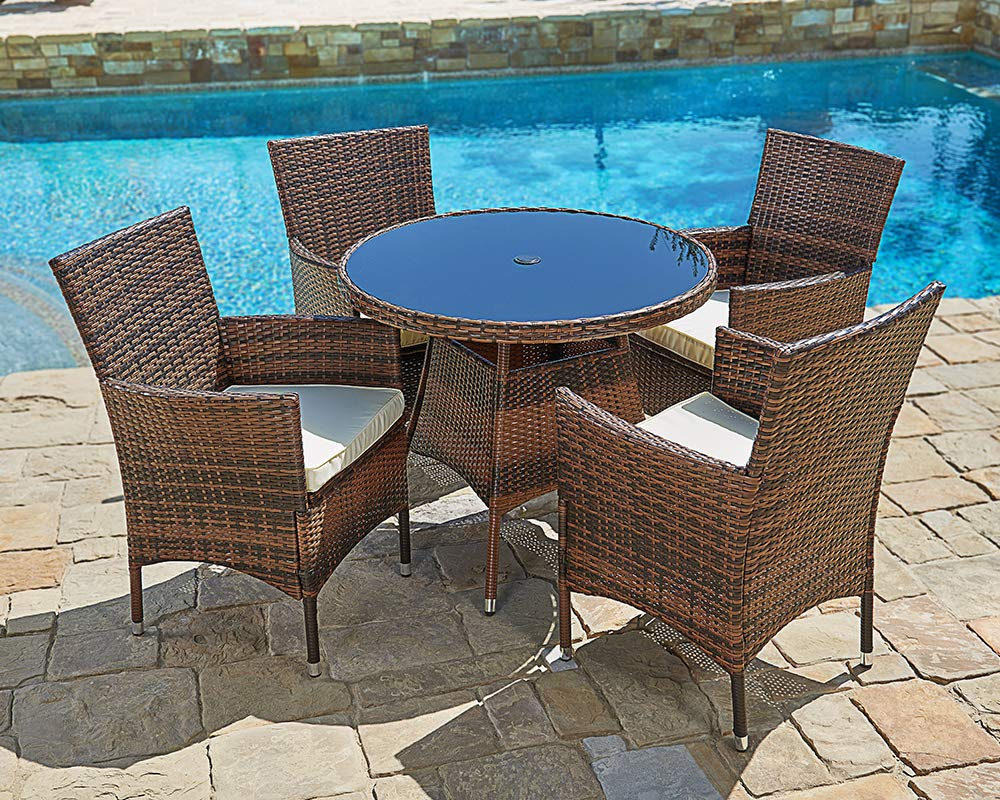 Amazon.com : Suncrown Outdoor Furniture All-Weather Wicker Round ...