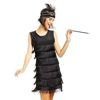 Maboobie Lady Cosplay Disfraz De Charleston Lujo Chicago 1920s 1930s Vestido Con Flecos Color Negro Rojo Para Mujer S 32 34 Negro