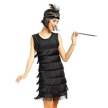 Maboobie - Lady Cosplay Disfraz de Charleston Lujo Chicago 1920s 1930s Vestido con Flecos Color Negro