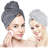 Organic Bamboo Hair Towel - Laluztop Hair Drying Towel Turban Wrap with Button, Anti Frizz Absorbent & Soft Bath Cap for Curly, Long Thick Hair(2 PACK)