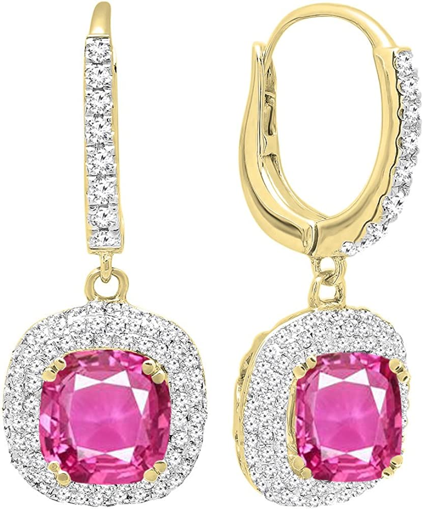 DazzlingRock Collection Oro Amarillo de 14 k de 6 MM Cada una de Piedras Preciosas de cojín y Pendientes de Gota Redondas de halo de Diamantes de Mujer Zafiro Rosa Zafiro Rosa