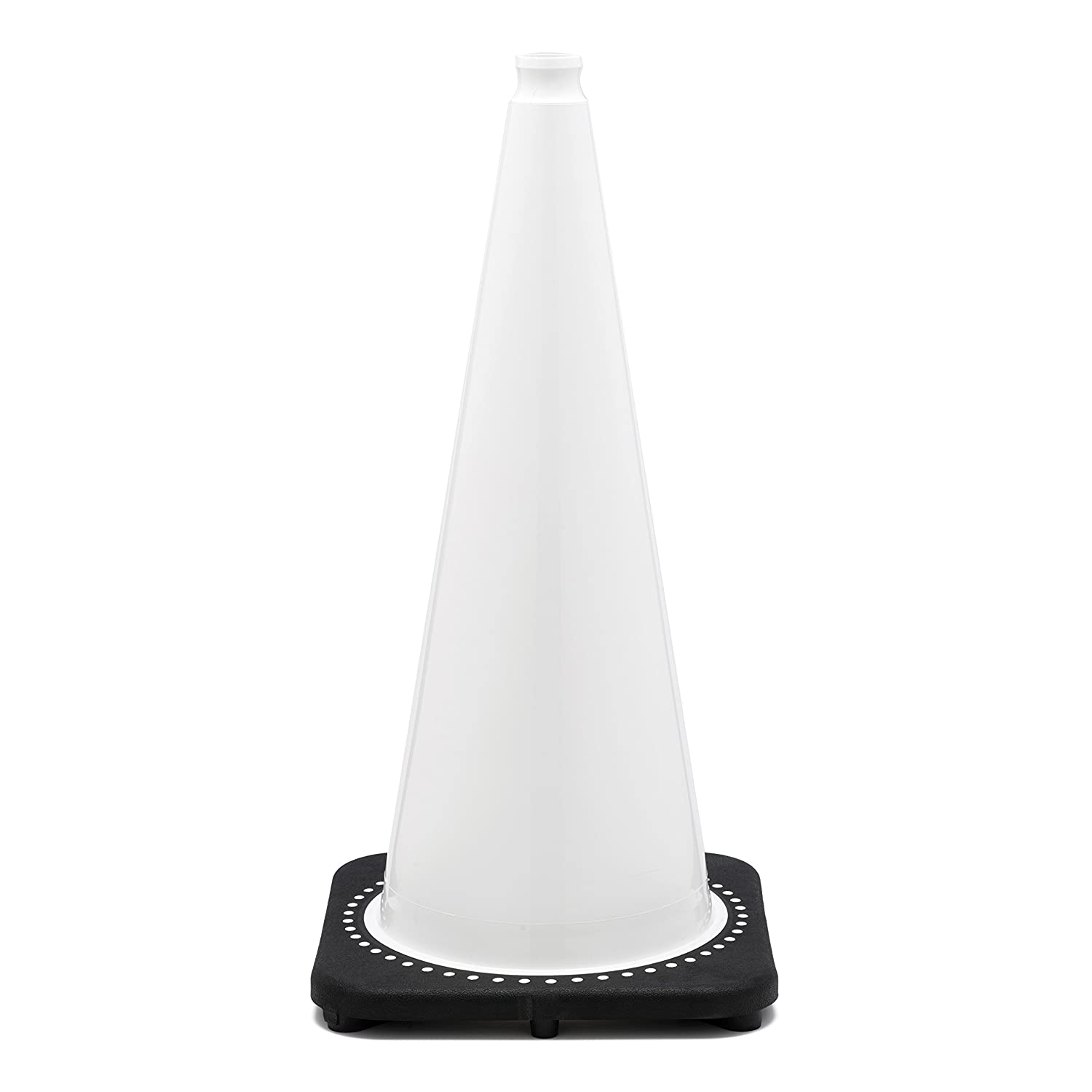 JBC Safety Plastic RS70032C-White+3M64 Revolution Series 28 Traffic Cone Wide Body with 6 and 4 Reflective Cone Collars White Color