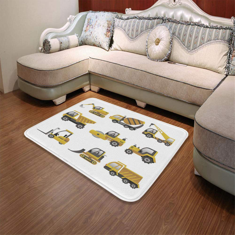 YOLIYANA Modern Carpet,Construction,for Living Room Bathroom,55.12'' x78.74'',Big Vehicles Icon Collection Engineering Building