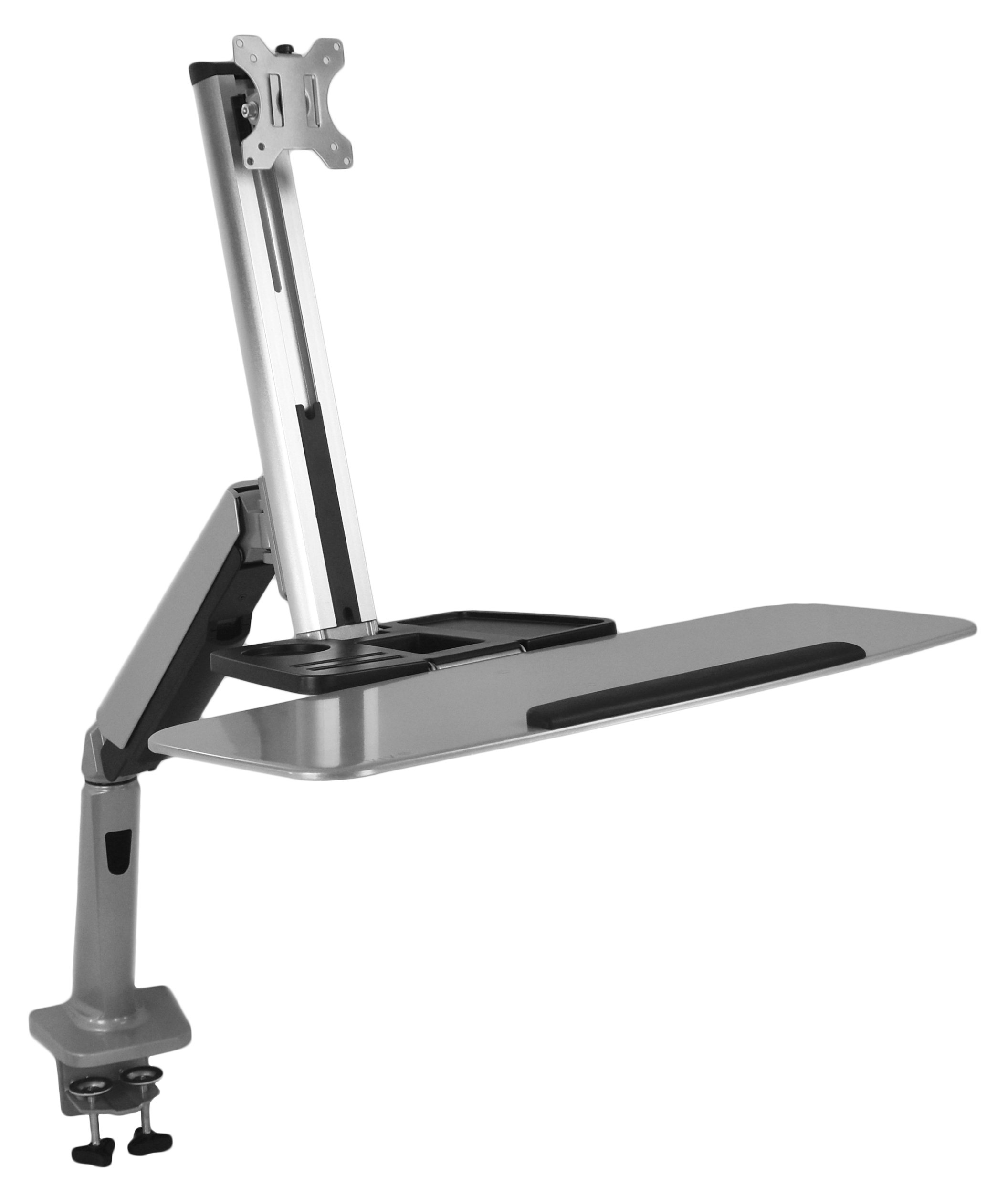 VIVO Single Monitor & Keyboard Counterbalance Sit-Stand Desk Mount | Ergonomic Standing Transition Workstation for 13'' to 32'' Screens (STAND-SIT1S)