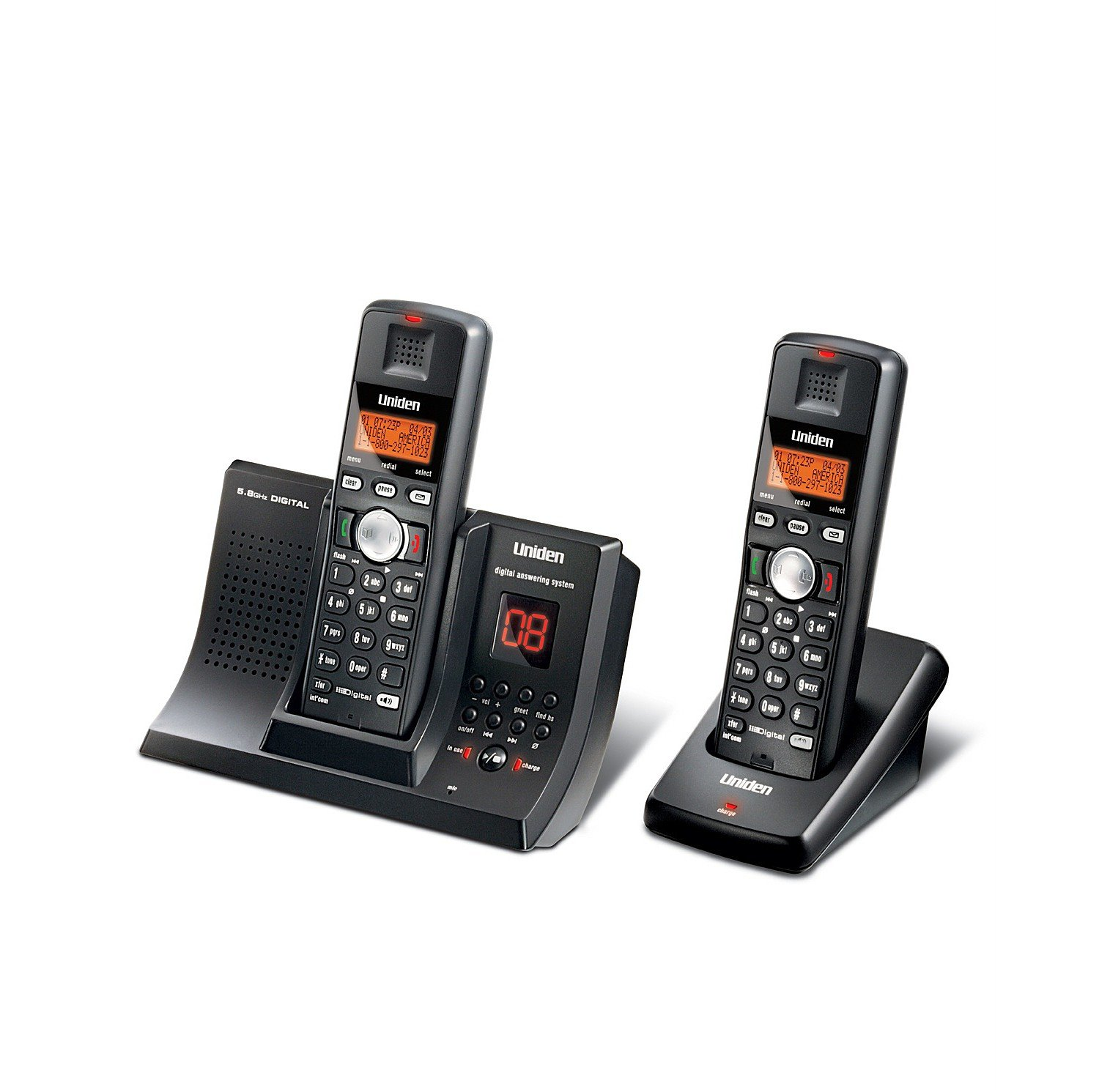 Amazon.com : Uniden Tru9280-2 5.8 Ghz Dual Handset Cordless Phone System  With Answering System & Call Waiting Caller Id : Cordless Telephones :  Electronics