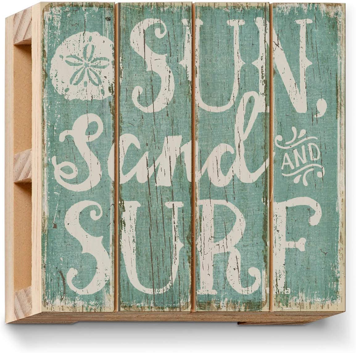 Highland Home Sun Sand Surf Single Pallet Wood Coaster 4 inch by 4 inch Square