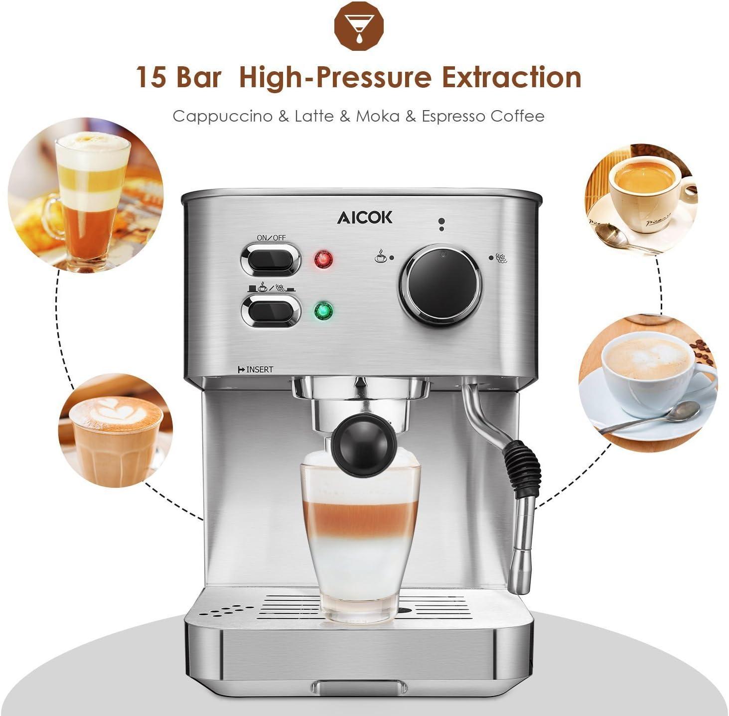 Amazon.com: AICOK Máquina de café para espresso, capuchino ...