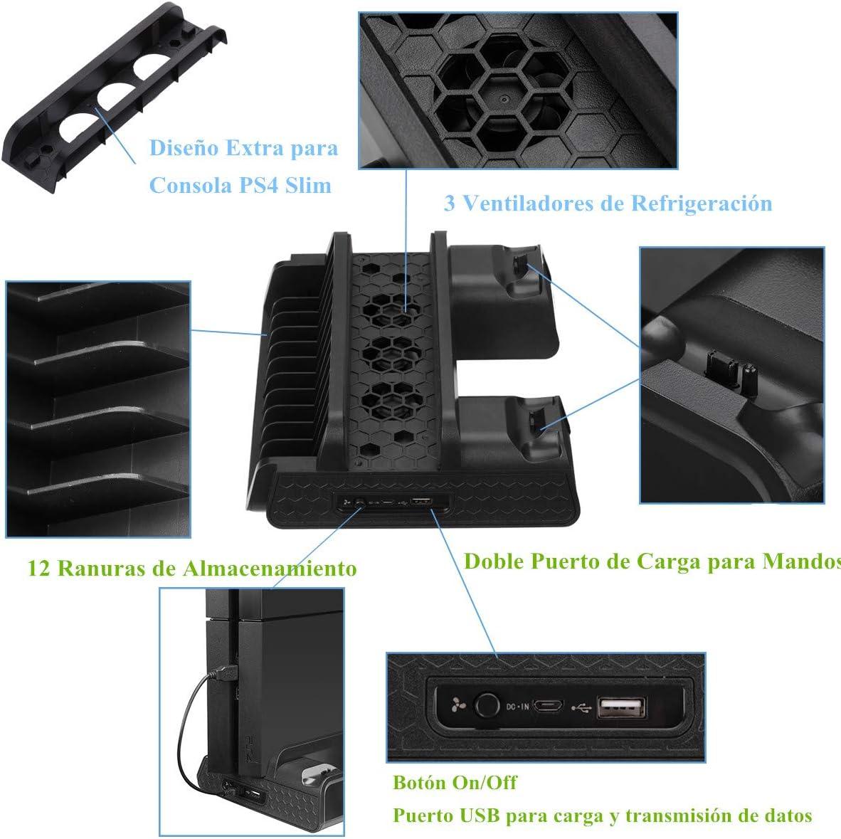 PS4 Slim/ Pro / PS4 Soporte Vertical con 3 Ventiladores y 2 ...