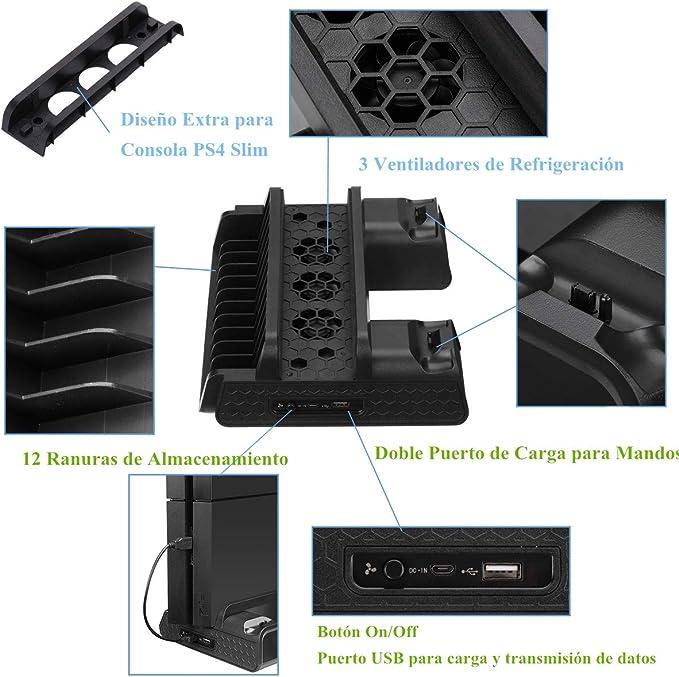 PS4 Slim/ Pro / PS4 Soporte Vertical con 3 Ventiladores y 2 Cargadores Mando PS4 y 14 Discos de Juego de Almacenamiento, Refrigerador PS4 con Puerto USB por Cheerforu (Cable USB Incluido) : Amazon.es: Videojuegos