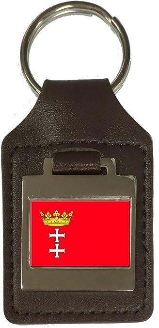 Leather Keyring Engraved Gdansk City Poland Flag