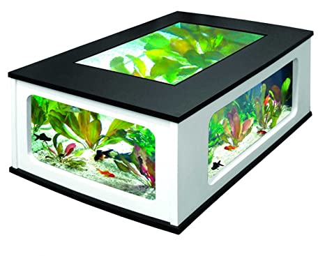 Aquatlantis – Aquatlantis AquaTable 130 – Mesa baja con acuario, color negro y blanco (