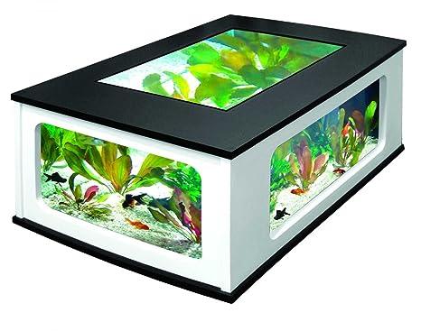 Aquatlantis – Aquatlantis AquaTable 130 – Mesa baja con acuario, color negro y blanco (