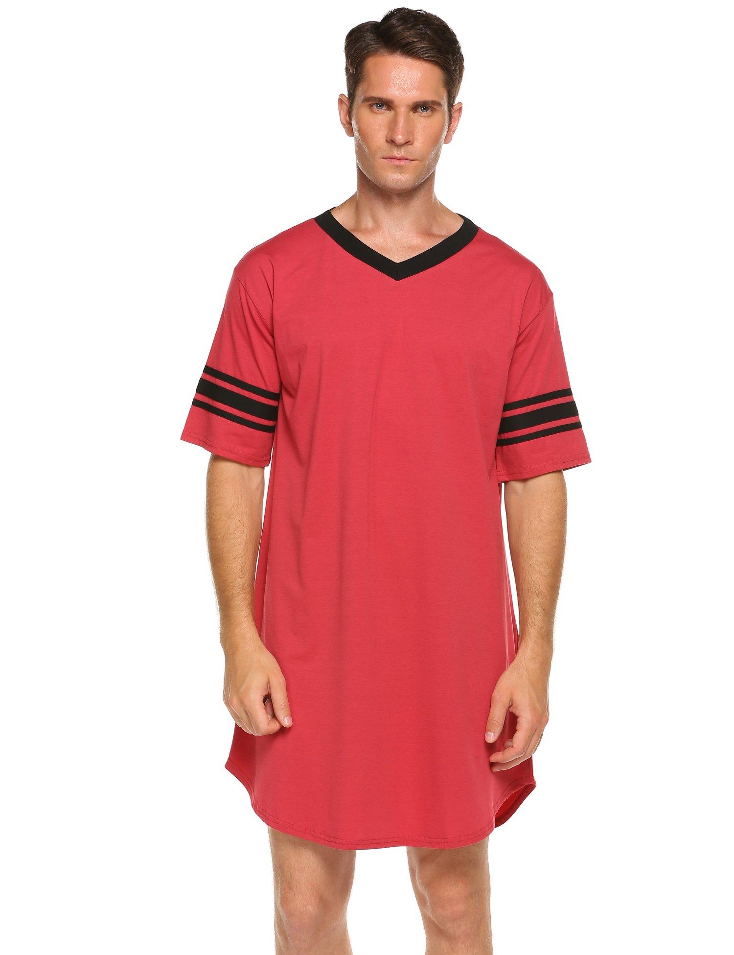 Skylin Nightdress Men's Comfort Sleepwear Short Sleeve Nightshirt Sleep Shirt (Red, XL)