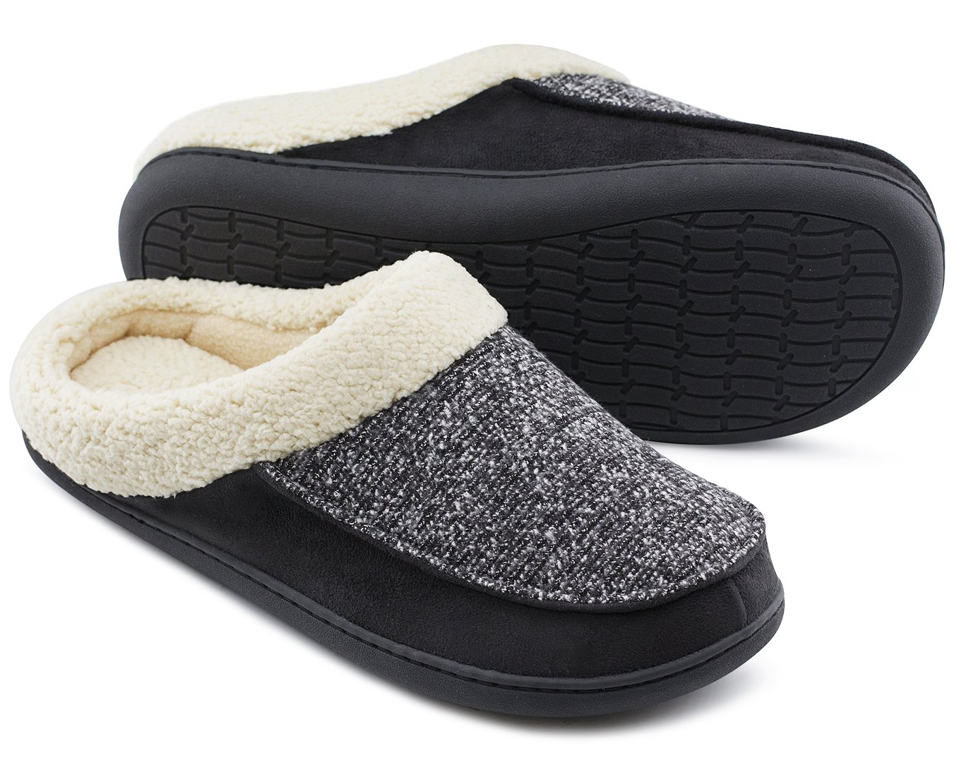 Men's Comfort Memory Foam Slippers Fuzzy Wool Plush Slip-On Clog House Shoes w/Indoor & Outdoor Sole (Large / 11-12 D(M) US, Black)
