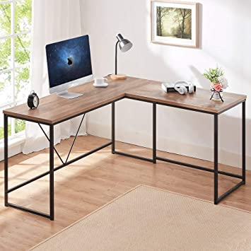 Hsh L Shaped Computer Desk Metal And Wood Rustic Corner Desk Industrial Writing Workstation Table For Home Office Study Rustic Oak 59 X 55 Inch Kitchen Dining