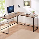 HSH L Shaped Computer Desk, Metal and Wood Rustic Corner Desk, Industrial Writing Workstation Table for Home Office…