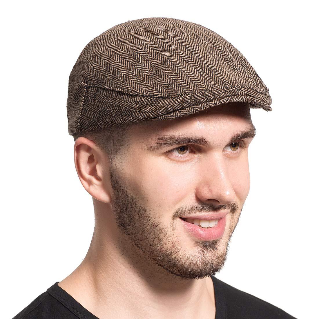 Leucos Ticte Gatsby Newsboy Hat Men Women Classic Herringbone Tweeb Flat Cap A brown