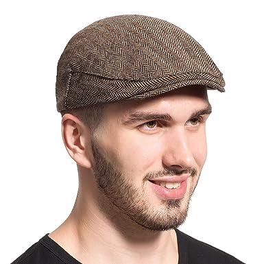 8e634db2d09 Leucos Ticte Gatsby Newsboy Hat Men Women Classic Herringbone Tweeb Flat Cap  at Amazon Men s Clothing store